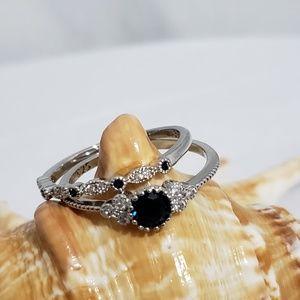 Jewelry - 925 Silver Round Cut Sapphire Women's  Ring Set